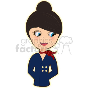 Flight Attendant cartoon character vector image clipart. Commercial use image # 394939