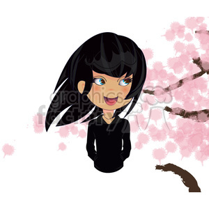 Cherry Blossom Girl cartoon character vector image clipart. Commercial use image # 394920