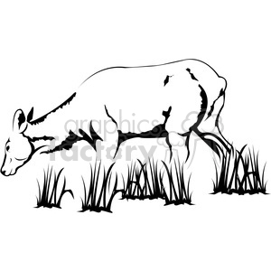 black and white Elk cow clipart. Royalty-free image # 394994