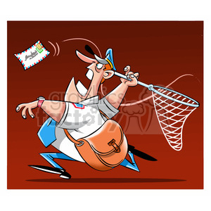 postal man chasing mail with a net clipart. Commercial use image # 395092
