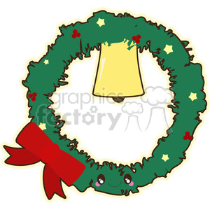 Christmas wreath cartoon character vector clip art image clipart. Royalty-free image # 395241
