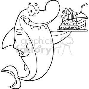 Royalty Free RF Clipart Illustration Black And White Shark Cartoon Character Holding A Plate Of Hamburger And French Fries clipart. Commercial use image # 395283