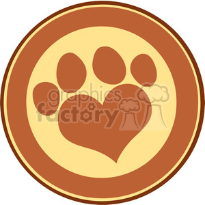 Illustration Love Paw Print Brown Circle Banner Design