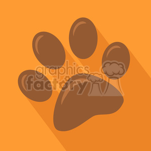 Brown Paw Print Icon Modern Flat Design Vector Illustration clipart. Commercial use image # 395323