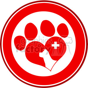 Royalty Free RF Clipart Illustration Veterinary Love Paw Print Red Circle Banner Design With Dog Head And Cross clipart. Royalty-free image # 395333