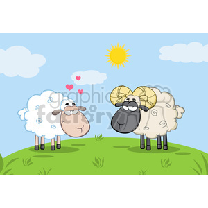 Royalty Free RF Clipart Illustration White Sheep In Love With Ram Sheep On A Meadow clipart. Commercial use image # 395353