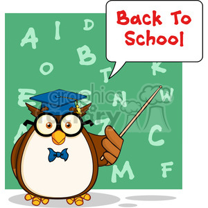 Wise Owl Teacher Cartoon Mascot Character With A Speech Bubble And Text clipart. Commercial use image # 395373