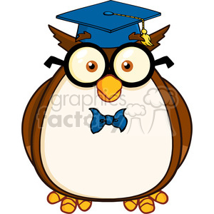 Royalty Free RF Clipart Illustration Wise Owl Teacher Cartoon Character With Glasses And Graduate Cap clipart. Royalty-free image # 395413
