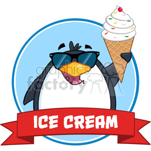 cartoon funny animal animals penguin winter cold ice+cream