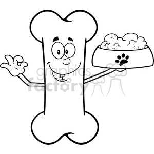 Royalty Free RF Clipart Illustration Black And White Bone Cartoon Mascot Character Holding A Dog Food In Red Bowl Dish clipart. Royalty-free image # 395463