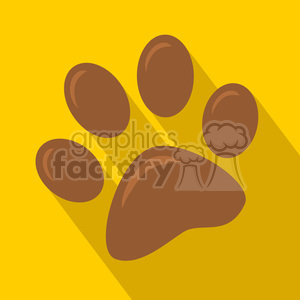 8251 Royalty Free RF Clipart Illustration Brown Paw Print Icon Modern Flat Design Vector Illustration