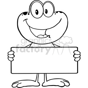 Royalty Free RF Clipart Illustration Black And White Cute Frog Cartoon Mascot Character Holding A Banner clipart. Royalty-free image # 395483