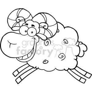 Royalty Free RF Clipart Illustration Black And White Ram Sheep Cartoon Mascot Character Jumping clipart. Royalty-free image # 395503