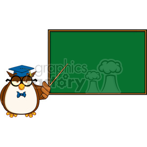 Royalty Free RF Clipart Illustration Wise Owl Teacher Cartoon Mascot Character In Front Of School Chalk Board clipart. Commercial use image # 395563