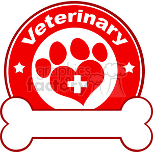 Royalty Free RF Clipart Illustration Veterinary Red Circle Label Design With Love Paw Print,Cross And Bone Under Text clipart. Royalty-free image # 395583