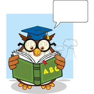Royalty Free RF Clipart Illustration Wise Owl Teacher Cartoon Mascot Character Reading A ABC Book And Speech Bubble clipart. Commercial use image # 395593