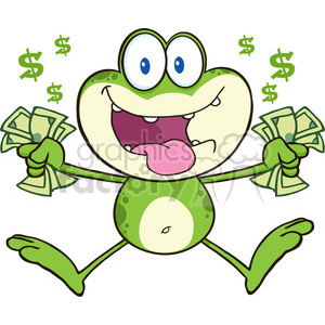 cartoon funny animal animals frog money cash greed greedy rich rapacity paycheck