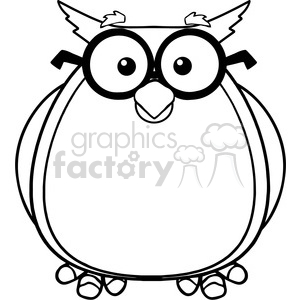 Royalty Free RF Clipart Illustration Black And White Wise Owl Teacher Cartoon Character With Glasses clipart. Commercial use image # 395623