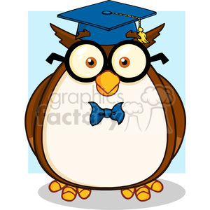 Illustration Wise Owl Teacher Cartoon Character With Glasses And Graduate Cap clipart. Commercial use image # 395633