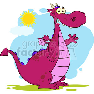 6945 Royalty Free RF Clipart Illustration Purple Dragon Cartoon Mascot Character Waving For Greeting clipart. Commercial use image # 395643