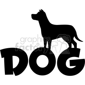 Royalty Free RF Clipart Illustration Dog Silhouette Over Text Vector Illustration Isolated On White Background clipart. Commercial use image # 395653
