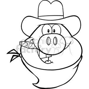 Royalty Free RF Clipart Illustration Black And White Cowboy Pig Head Cartoon Character clipart. Royalty-free image # 395663