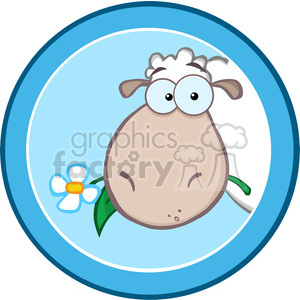 Royalty Free RF Clipart Illustration Cartoon Blue Circle Label With Sheep clipart. Commercial use image # 395693