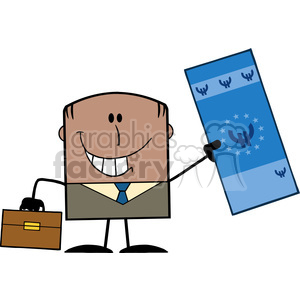 Royalty Free RF Clipart Illustration Lucky African American Businessman With Briefcase Holding A Euro Bill Cartoon Character clipart. Royalty-free image # 395713