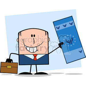 Royalty Free RF Clipart Illustration Lucky Businessman With Briefcase Holding A Euro Bill Cartoon Character On Background clipart. Royalty-free image # 395723