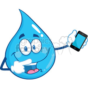 Royalty Free RF Clipart Illustration Water Drop Character Pointing To A Mobile Phone clipart. Royalty-free image # 395733