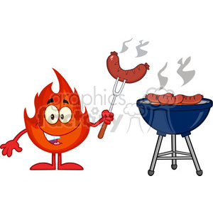 Royalty Free RF Clipart Illustration Happy Fire Cartoon Mascot Character With Sausage On Fork Cook At Barbecue clipart. Commercial use image # 395763
