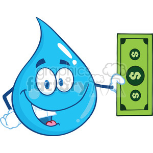 Royalty Free RF Clipart Illustration Water Drop Character Showing A Dollar Bill clipart. Royalty-free image # 395773