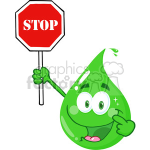 Royalty Free RF Clipart Illustration Eco Green Drop Character Holding A Stop Sign clipart. Royalty-free image # 395783