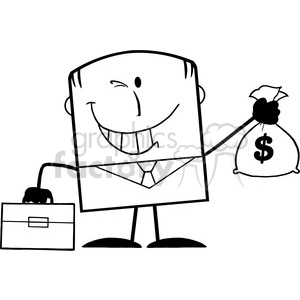 Royalty Free RF Clipart Illustration Black And White Winking Businessman With Briefcase Holding A Money Bag Cartoon Character clipart. Royalty-free image # 395803
