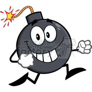 Royalty Free RF Clipart Illustration Smiling Bomb Cartoon Character Running clipart. Royalty-free image # 395813