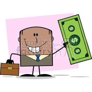 Royalty Free RF Clipart Illustration Lucky African American Businessman With Briefcase Holding A Dollar Bill Cartoon Character On Background clipart. Commercial use image # 395823