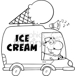 Royalty Free RF Clipart Illustration Black And White Happy Ice Cream Man Driving Truck clipart. Commercial use image # 395843