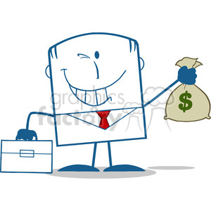 Royalty Free RF Clipart Illustration Winking Businessman With Briefcase Holding A Money Bag Monochrome Cartoon Character clipart. Royalty-free image # 395853