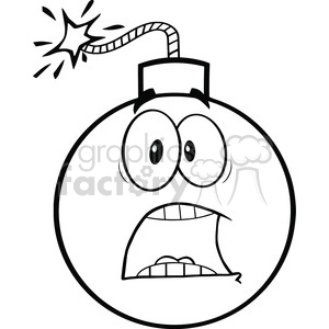 Royalty Free RF Clipart Illustration Black and White Scared Bomb Cartoon Character clipart. Royalty-free image # 395863