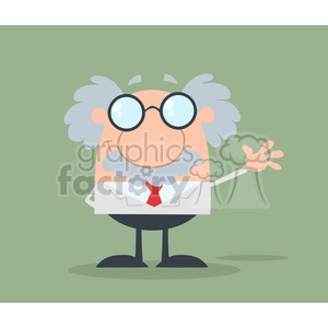 Funny Scientist Or Professor Waving Flat Design clipart. Commercial use image # 395873