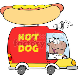 Royalty Free RF Clipart Illustration African American Hot Dog Vendor Driving Truck clipart. Royalty-free image # 395883