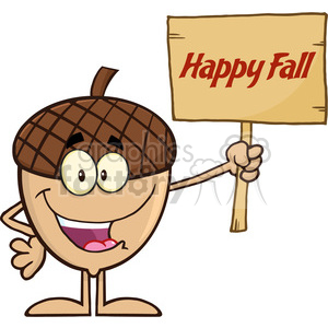Royalty Free RF Clipart Illustration Smiling Acorn Cartoon Mascot Character Holding A Wooden Board With Text Happy Fall clipart. Royalty-free image # 395893