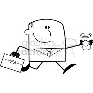 Royalty Free RF Clipart Illustration Black And White Lucky Businessman Running To Work With Briefcase And Coffee Cartoon Character clipart. Commercial use image # 395903