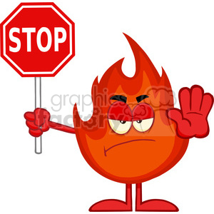 Royalty Free RF Clipart Illustration Angry Fire Cartoon Mascot Character Holding A Stop Sign clipart. Royalty-free image # 395913