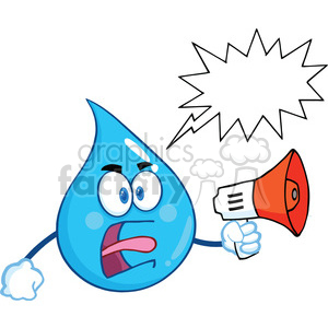 Royalty Free RF Clipart Illustration Angry Water Drop Character Screaming Into Megaphone With Speech Bubble clipart. Royalty-free image # 395923