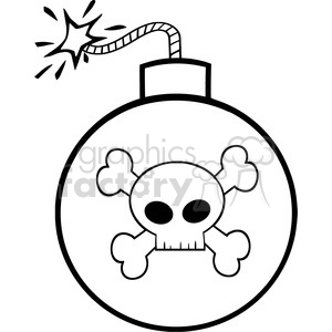 Royalty Free RF Clipart Illustration Black and White Cartoon Bomb With Skull And Crossbones clipart. Royalty-free image # 395943