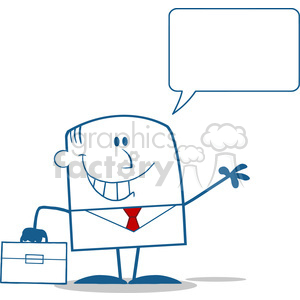 Royalty Free RF Clipart Illustration Smiling Businessman Waving Monochrome Cartoon Character With Speech Bubble clipart. Royalty-free image # 395953