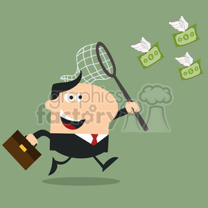 8296 Royalty Free RF Clipart Illustration Manager Chasing Flying Money With A Net Flat Design Style Vector Illustration