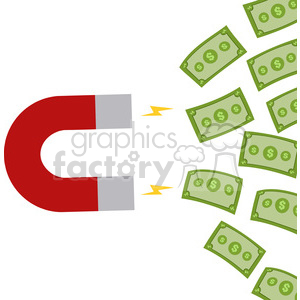 8299 Royalty Free RF Clipart Illustration Horseshoe Magnet Attracting Cash Money Flat Design Style Vector Illustration clipart. Commercial use image # 395983