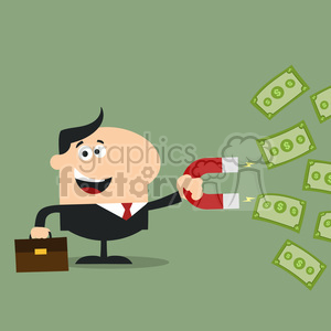 8284 Royalty Free RF Clipart Illustration Happy Manager Using A Magnet To Attracts Money Flat Design Style Vector Illustration